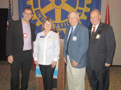 Deborah Alexander-Davis, Rotary District 6780 Governor, second from left, was the speaker at the Rotary Club of Cleveland luncheon. From left are Programme Chairman Matt Ryerson; Davis; PDG Jim Buckner; and Rotary President Bill Brown. Photo: Brian Graves