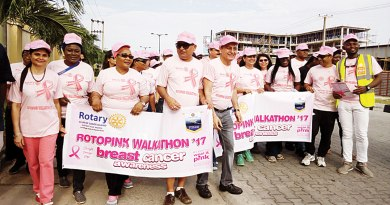 Walking to sensitise citizens on breast cancer prevention in Lagos, Nigeria.