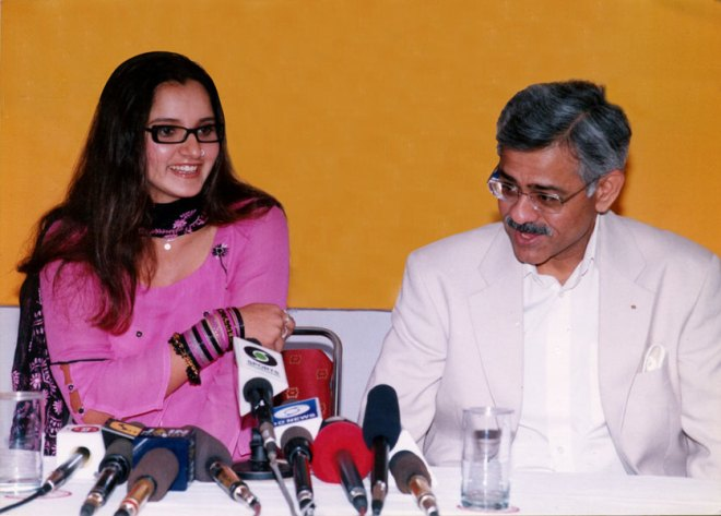 INPPC Chair Deepak Kapur with tennis player Sania Mirza during a promo for polio immunisation.