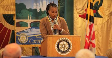 US Capitol Police Officer Crystal Griner addresses the Rotary Club of Carroll Creek after accepting a Paul Harris Fellow Award at the club's meeting in Frederick. Photo: Jeremy Arias / News-Post