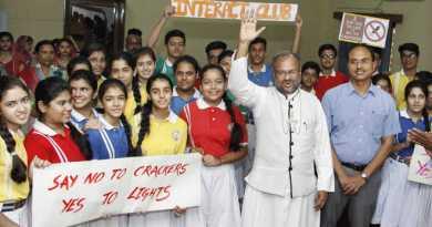 School students, along with Bishop Dr Franco Mulakkal and DC Varinder Kumar Sharma, during an event at Bishop House in Jalandhar. Photo: Sarabjit Singh