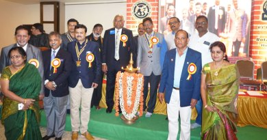 RID C Basker, DG Madhu Prasad Kuruvadi inaugurate the TRF Seminar in the presence of (from L) Sharada and PDG R Gopinath, DRFC Vinod Bansal, RC Hospet President P S Gurunath, DRFC Ramalinga Reddy, District ­Secretary V Tirupathi Naidu and Sudha Madhuri, spouse of DG Madhu Prasad.