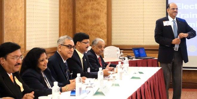 From L: DGEs Neeraj Sogani, Stuti Agrawal, Vishwa Bandhu Dixit, Ashes Ganguly and Praveen Goyal with GETS Chair Sam Movva.