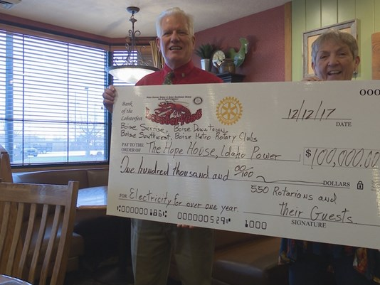 Sunrise Rotary Club of Boise presented Hope House a $100,000 cheque that will pay the facility's power bills for more than a year.