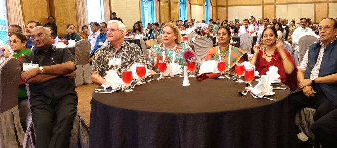(From L) Vasanthi Theenachandran, RID C Basker, RID John Matthews, Mary Ellen Matthews, Mala Basker, Nalini and PRID P T Prabhakar.