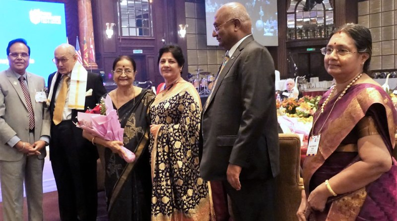 PRIP Kalyan Banerjee and Binota being given a warm welcome by PDG Mohan Mulherkar and spouse Veena in the presence of RID C Basker and Mala.