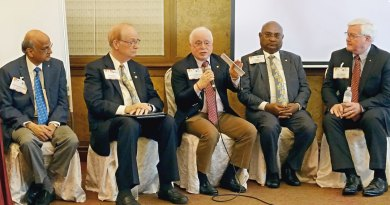 From left: TRF Trustee-elect Gulam Vahanvaty, TRF Trustee Chair Paul Netzel, TRF Trustee Sushil Gupta, RI Directors C Basker and John Matthews.