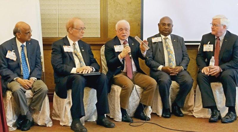 From left: TRF Trustee-elect Gulam Vahanvaty, TRF Trustee Chair Paul Netzel, TRF Trustee Sushil Gupta, RI Directors C Basker and John Matthews.