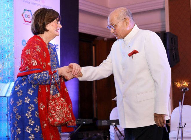 RILM's Chief Advisor PRIP Kalyan Banerjee greets Loomba Foundation President Cherie Blair.