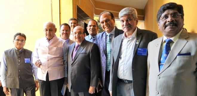 From L: DG Vyankatesh Channa, PRIP Kalyan Banerjee, PRID Ashok Mahajan, PDGs Gopal Mandhania, Vinay Kulkarni and Prashant Deshmukh. Back row: PDGs Zubin Amaria and Ratna Prabhakar Anne.