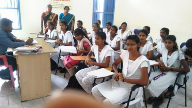 A class in progress at the Bheemannapet Community College campus.