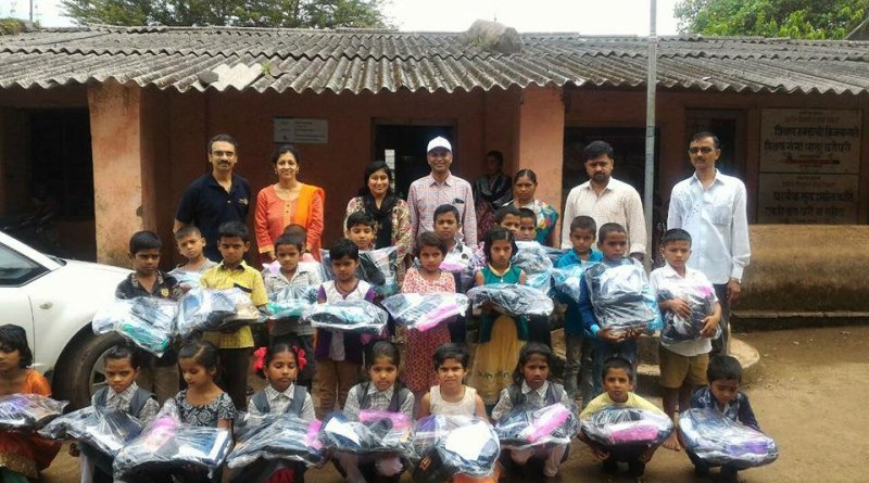 School students with the Cafe kits at the Ghoti school.