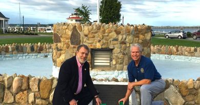 Rotary Club of Cambridge President Wayne Sandberg and Cambridge Rotary Community Service Foundation Past President Jeff Hubbard pictured with the new pump for the WWI Memorial Fountain. Photo: Submitted