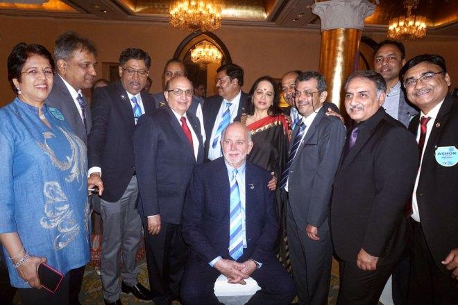 From L: Preeti Shah, DG Prafull Sharma, DGE (3142) Ashes Ganguly, DGE (3232) Babu Peram, PRID Ashok Mahajan, DGE (3141) Shashi Sharma, PDG Lata Subraidu, RRFC Vijay Jalan, RIDN Bharat Pandya, DGND Sunnil Mehra, District Secretary Girish Mittal and Ashok Ajmera with RIPE Barry Rassin.