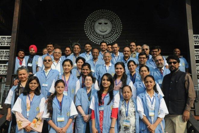 PRIP Rajendra K Saboo and Usha Saboo with the RAHAT medical mission team in Dhamtari.