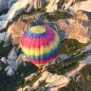 Over fairy chimneys in hot air balloons