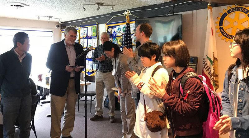 FRIENDSHIP EXCHANGE: Sebastopol Rotarian Nao Noguchi (left) and Rotary President Jack Blasco (at microphone) are on hand to acknowledge a generous donation for Sonoma County firestorm victims from the Otsuchi Rotary Club. Photo: Submitted
