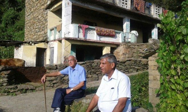 PDG Prem Bhalla with PRID Y P Das at a school site in the Garhwal Himalayas.