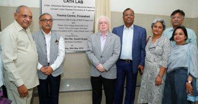 (From L) P K Jindal, Chairman of the hospital, PDG Sharat Chandra, TRF Trustee Sushil Gupta, RS Jalan, MD of GHCL, Jayashree Jayaraman, Sanjay Parmar and Bhawna Verna from RISAO.
