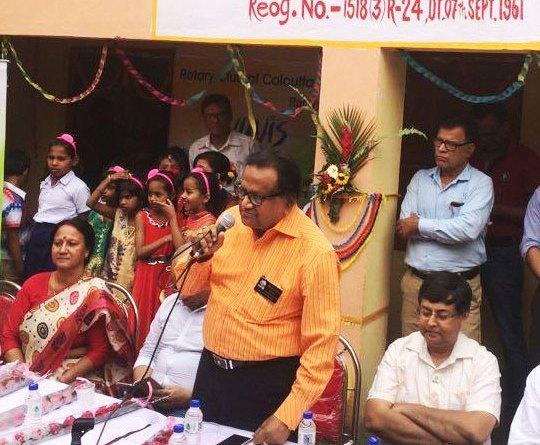 The then DG Brojo Kundu inaugurating the renovated school in Kolkata.