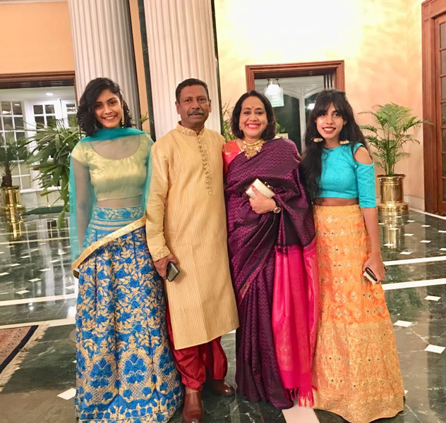 D Ravishankar and Paola with their daughters Ektaa (left) and Samta.