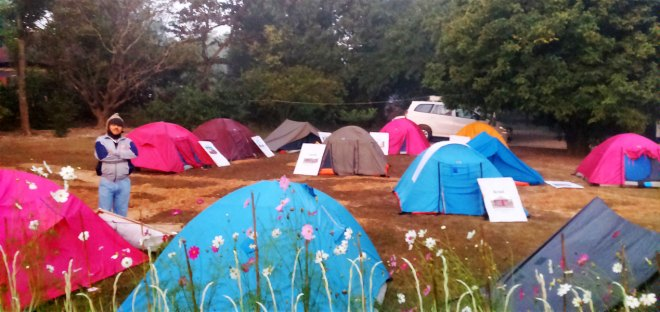 Tents pitched for night halt by the expedition team.