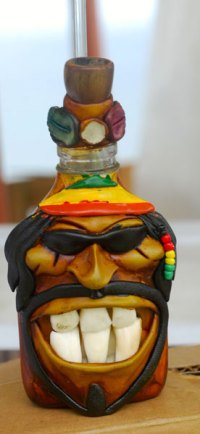 A Bob Marley-alike rum bottle