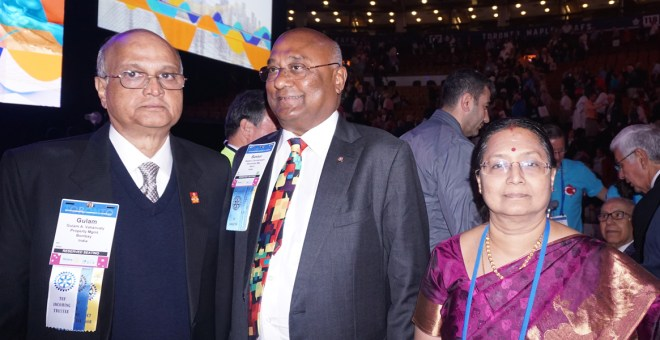 (From L) TRF Trustee-elect Gulam Vahanvaty, RID C Basker and Malathy.
