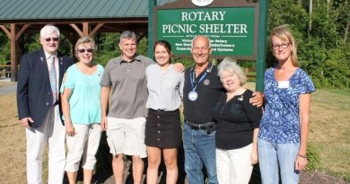 Victor-Farmington Rotary Club holds a presentation about the youth exchange programme at its recent dinner meet in Victor Municipal Park. Pictured from Left are Rotary District Governor Mike Slovak, Jo Slovak, Paul Morgan, Grace Morgan, Club President Ross Cottone, Bonnie Cottone and Anne Morrell, past chairman of the youth exchange programme. Photo: Dave Luitweiler.