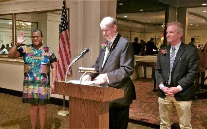 New West Orange Rotary President Cynthia Hadley-Bailey, Michael Karu, and next year's President-elect Peter Horn. Photo: Submitted