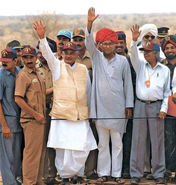 At Pokhran after the successful nuclear tests in 1998. Also in the picture: George Fernandes and former Indian President Abdul Kalam who was then Scientific Advisor to the Prime Minister.