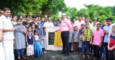 IPDG P M Sivashankaran inaugurating the Tactile Pedagogy Park in the presence of RC Manjeri President Dr M J Sujith (right) and students of the school.