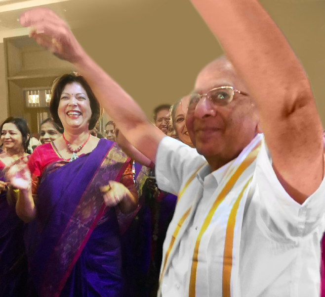 PRIP Rajendra Saboo displays some Bhangra moves as Esther Rassin looks on.