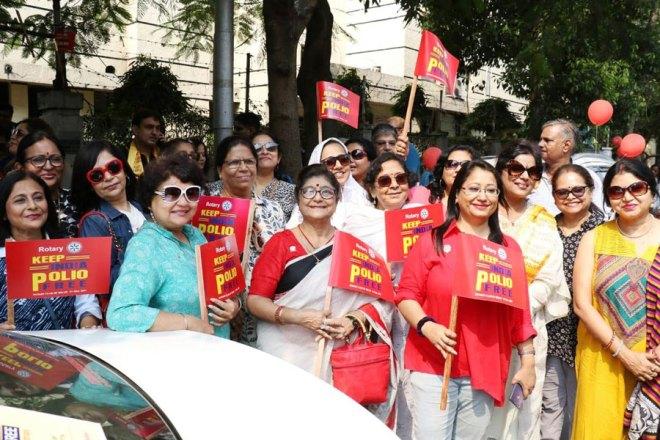 Women participants at a car rally in Kolkata.
