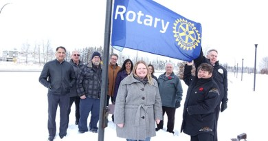RC Thompson President Cristin Smook and other Rotarians were at Thompson City Hall on Thursday, Nov 1, with Mayor Colleen Smook for the raising of the Rotary flag. Photo: Ian Graham