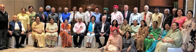President Rassin and Esther and PRIP Rajendra Saboo and Usha and DG Praveen Goyal with PDGs and spouses from D 3080.
