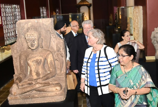 RIPE Maloney and Gay being guided around the Chhatrapati Shivaji Maharaj museum. Also in the picture: DGE Harjit Singh Talwar, Romi and EMGA Ashok Panjwani.