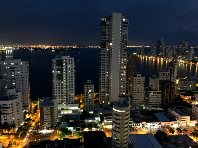 Cartagena's Caribbean coast by night.