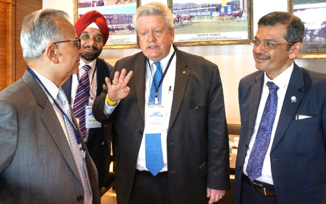 RIPE Maloney in conversation with PRIP Rajendra Saboo, RIDE Bharat Pandya and DGE Harjit Singh Talwar.