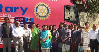 Rotarians of RC Nasik Grapecity with a Mammography bus in the background.