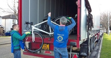 Bikes are loaded by Rotarians at Shankill Garda Station for refurbishment before despatch to Gambia.