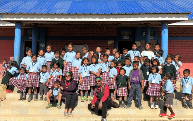RC Bangalore Orchards President D Ravishankar and Paola at the Lyzon Friendship School that they have built in Singngat in Manipur.