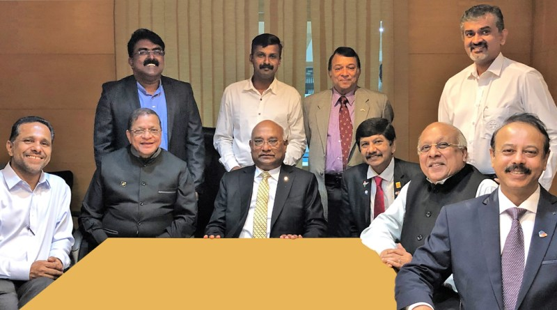 RID C Basker (centre) with (from R) DG A Venkatachalapathy, PDGs Giju Alexander George, E K Sagadhevan, DG E K Ummer and Dr Rajesh Subhash (standing right).