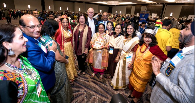 Spouses of Indian DGEs with RI President Barry Rassin, Esther, RI Director C Basker, RIDE Kamal Sanghvi and Sonal.