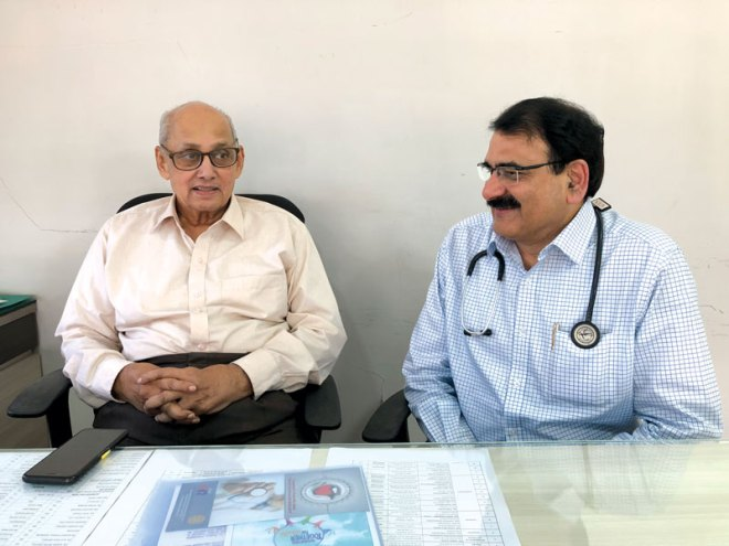 PRIP and Chairman of Rotary Charitable Trust Kalyan Banerjee with Dr S S Singh, the Chief Physician and Medical Superintendent, Haria Rotary Hospital.