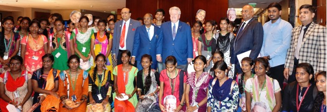 RIPE Maloney, RID C Basker, D 3232 DGE G Chandramohan and PRID P T Prabhakar with Rotaractors in Chennai.