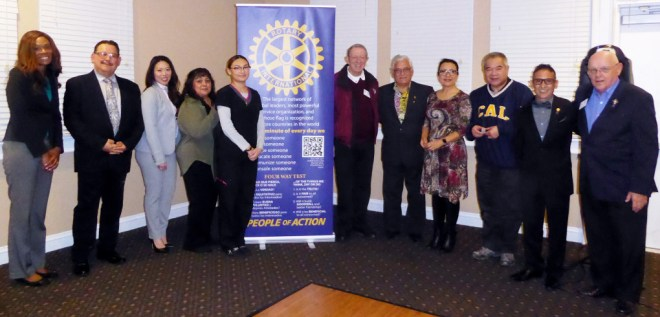 Charter members of the Rotary Club of Northern California Gateway, US, RID 5160, at a Pittsburg meeting. Photo: Daniel Lopez