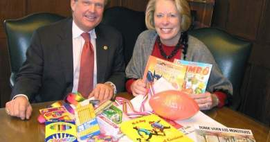 John Bickel (left) and Lee Clancey, both members of Downtown Rotary Club in Cedar Rapids, show some of the books, toys, school and personal items collected for 'A Promise of Health', a philanthropic organisation aiding Mayan populations in Yucatan, Mexico. Rotary members filled canvas bags with donations, which then filled three rooms. Photo: The Gazette