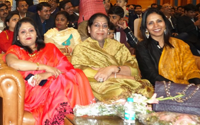 Below: (from L) Geeta Jain, Mamta Dhama, wife of PDG G S Dhama, and Minakshi Khemka.