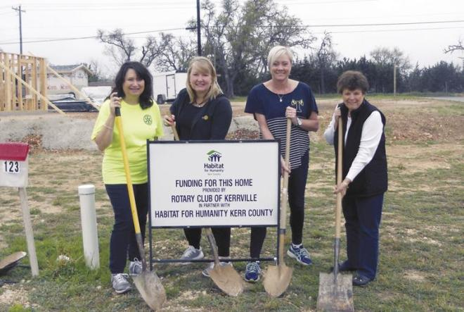 On hand for the groundbreaking ceremony are, from left, Rotary Club of Kerrville President Robin Miears, Past Presidents Stephanie Miller, Kim Clarkson and Habitat for Humanity Board Member and Rotarian Judy Eychner.